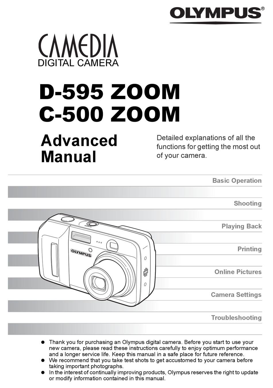 OLYMPUS CAMEDIA C-500 ZOOM ADVANCED MANUAL Pdf Download