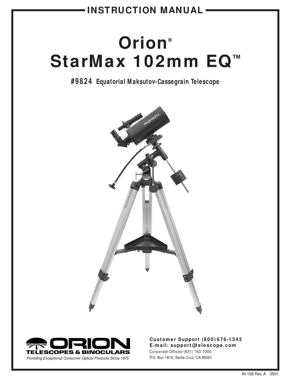 ORION STARMAX 102MM EQ INSTRUCTION MANUAL Pdf Download