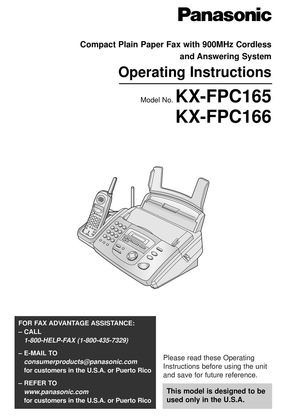 PANASONIC KX-FPC165 OPERATING INSTRUCTIONS MANUAL Pdf