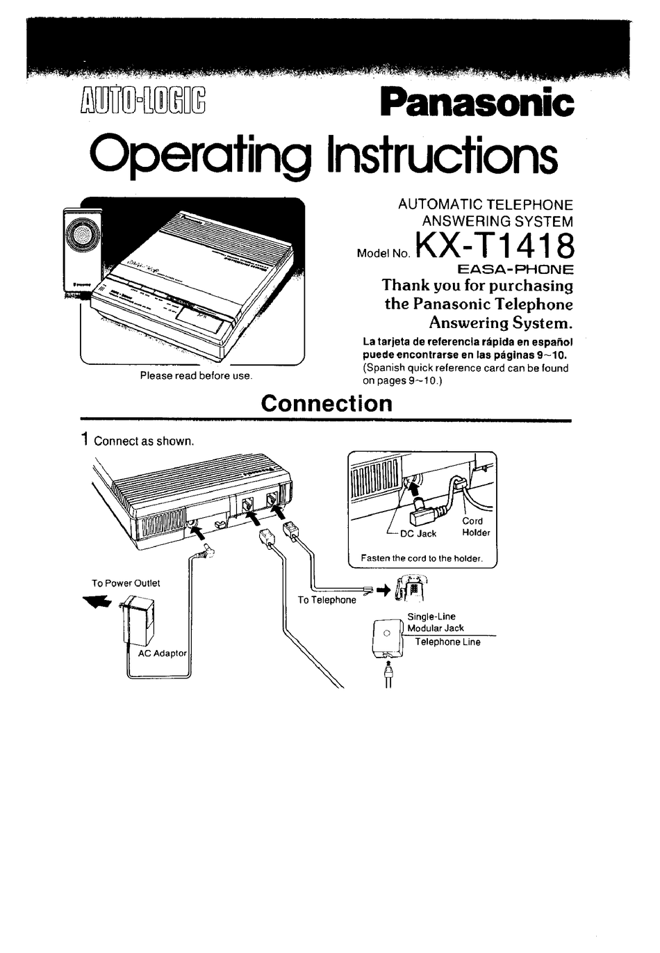 PANASONIC KX-T1418 OPERATING INSTRUCTIONS MANUAL Pdf