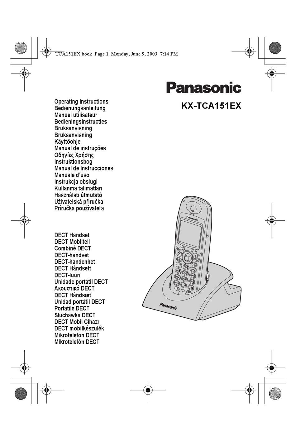 PANASONIC KX-TCA151EX OPERATING INSTRUCTIONS MANUAL Pdf