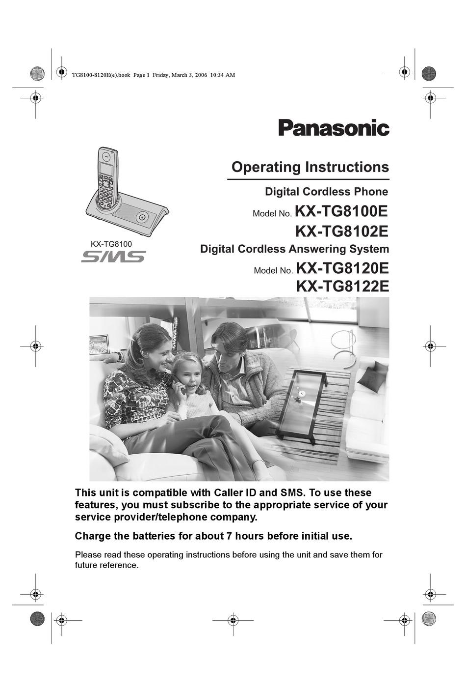 PANASONIC KX-TG8100E OPERATING INSTRUCTIONS MANUAL Pdf