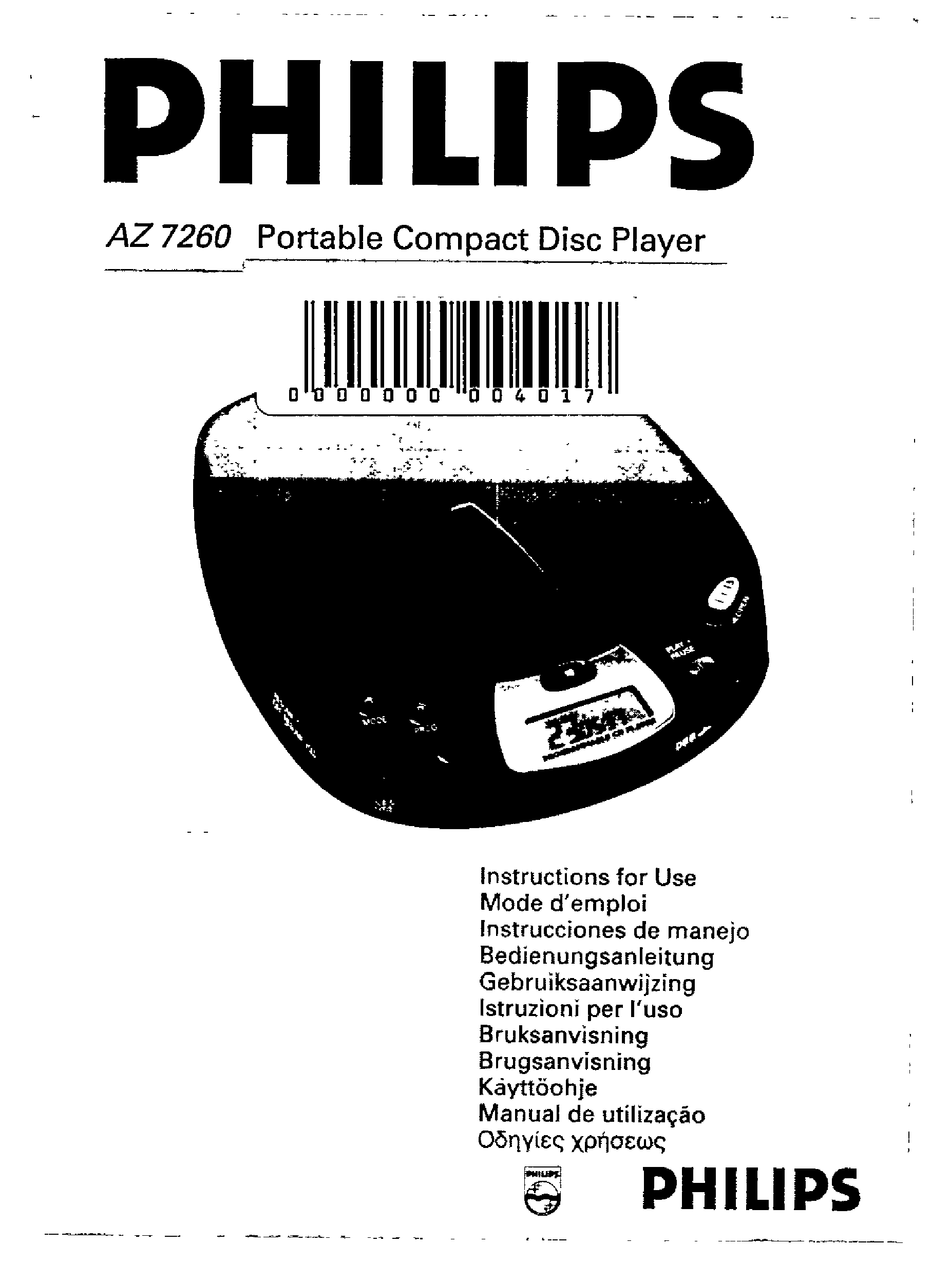 PHILIPS AZ7260 INSTRUCTIONS FOR USE MANUAL Pdf Download