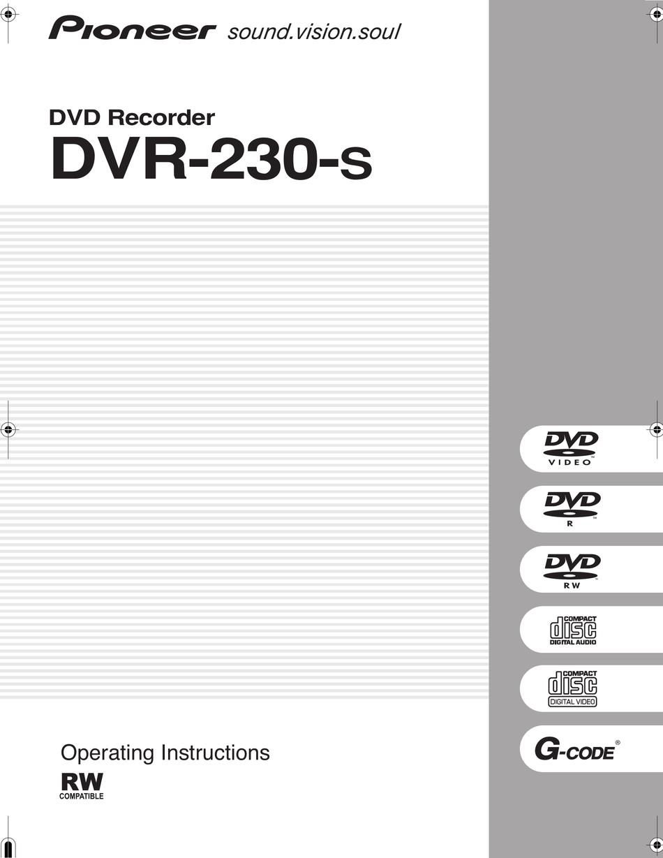 PIONEER DVR-230-S OPERATING INSTRUCTIONS MANUAL Pdf