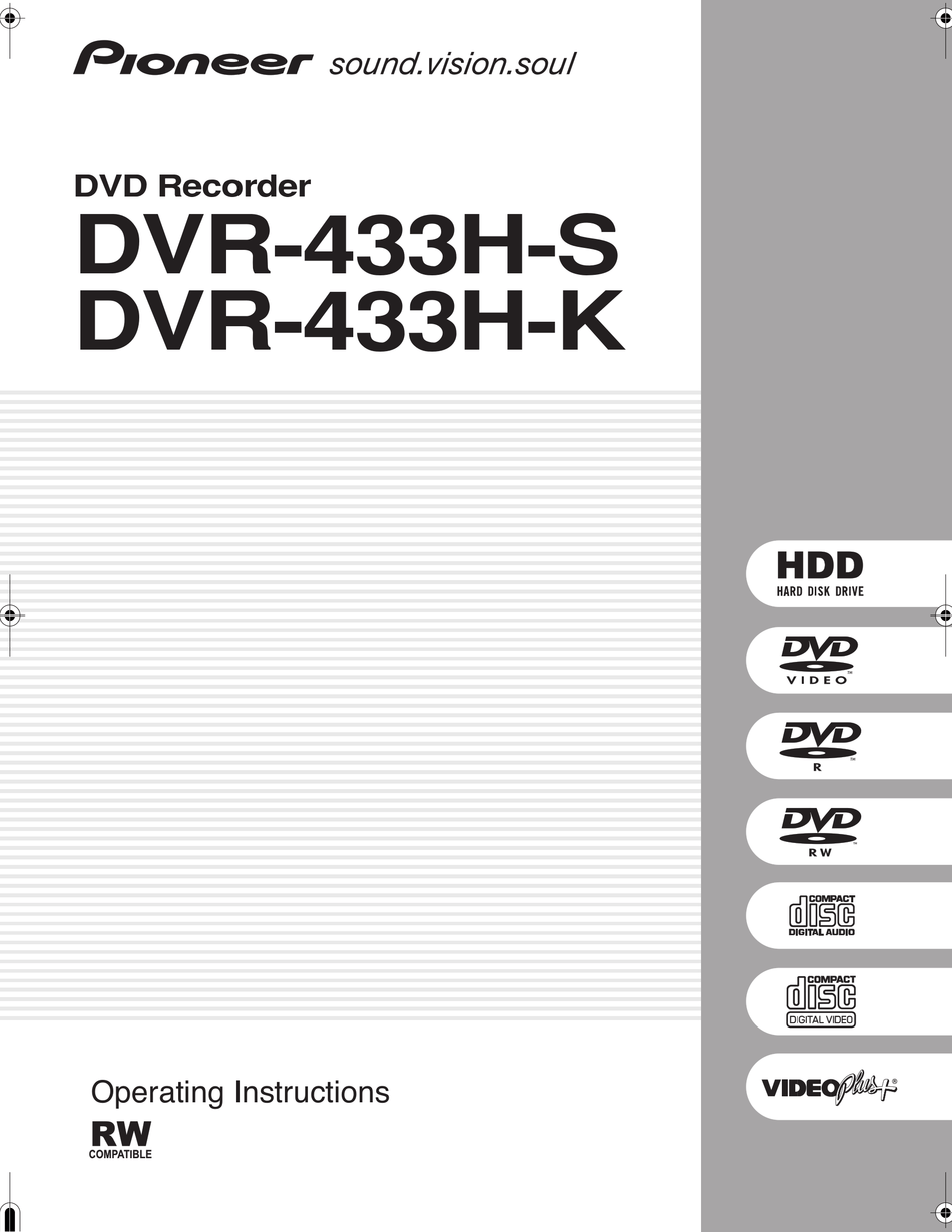 PIONEER DVR-433H-K OPERATING INSTRUCTIONS MANUAL Pdf