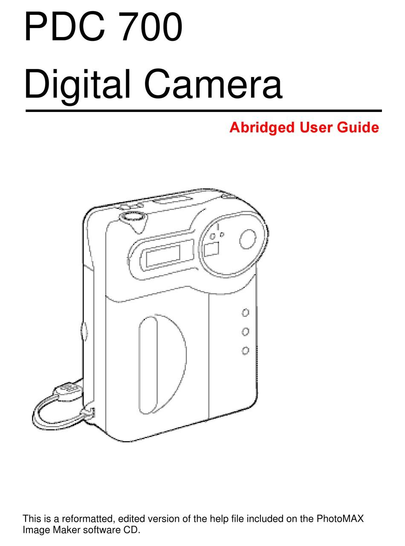 POLAROID PHOTOMAX PDC 700 USER MANUAL Pdf Download