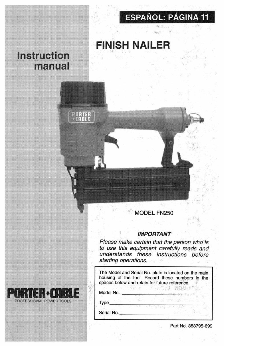 Porter Cable Fn250 : porter, cable, fn250, PORTER-CABLE, FN250, INSTRUCTION, MANUAL, Download, ManualsLib