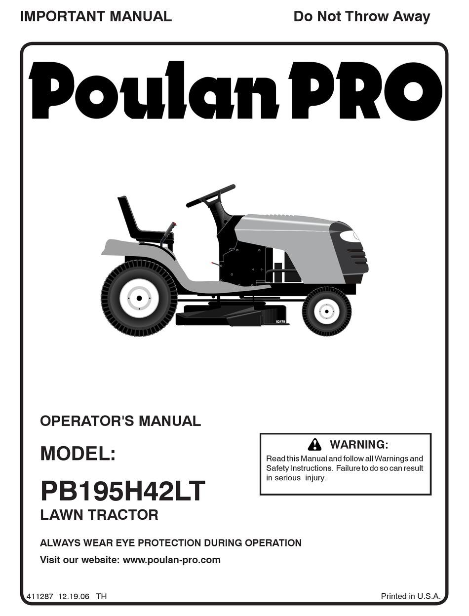POULAN PRO 96042003600 OPERATOR'S MANUAL Pdf Download