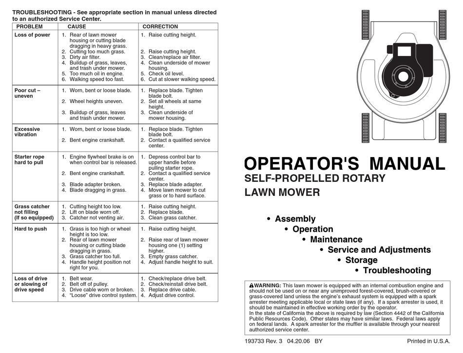 POULAN PRO 961420034 OPERATOR'S MANUAL Pdf Download