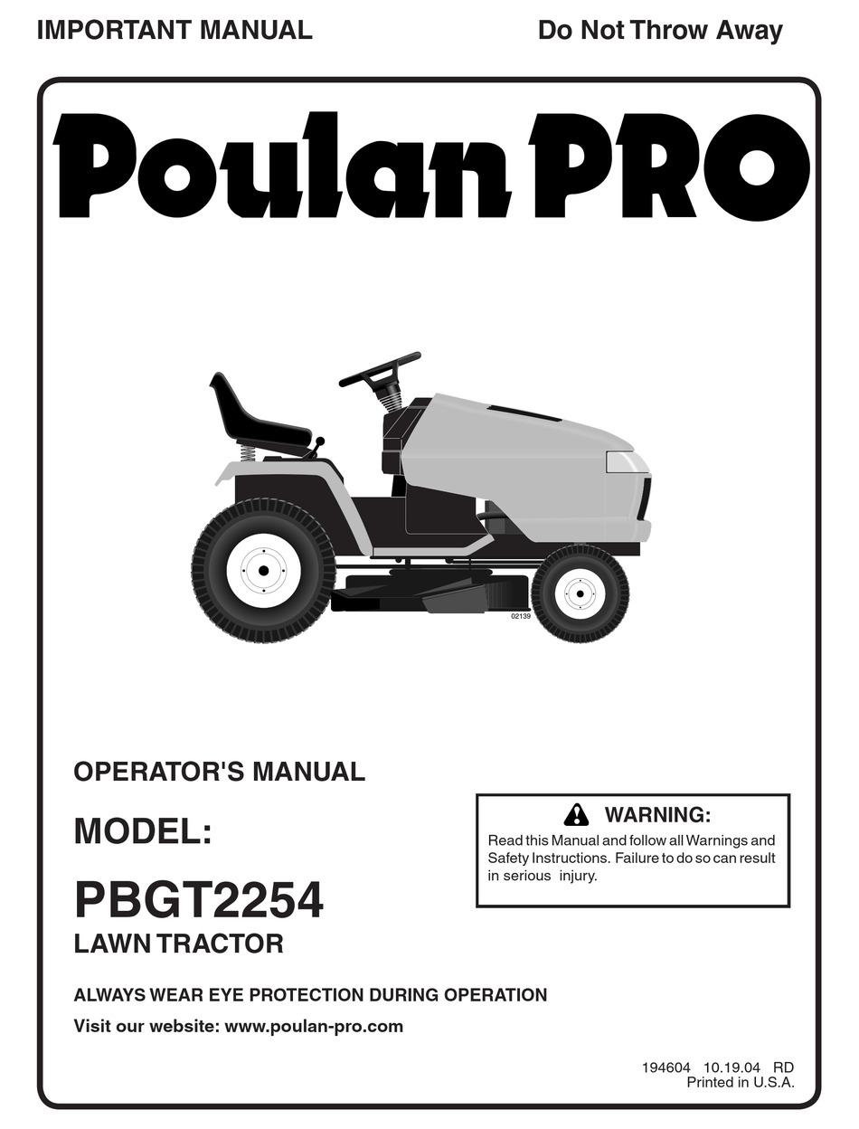 POULAN PRO PBGT2254 OPERATOR'S MANUAL Pdf Download