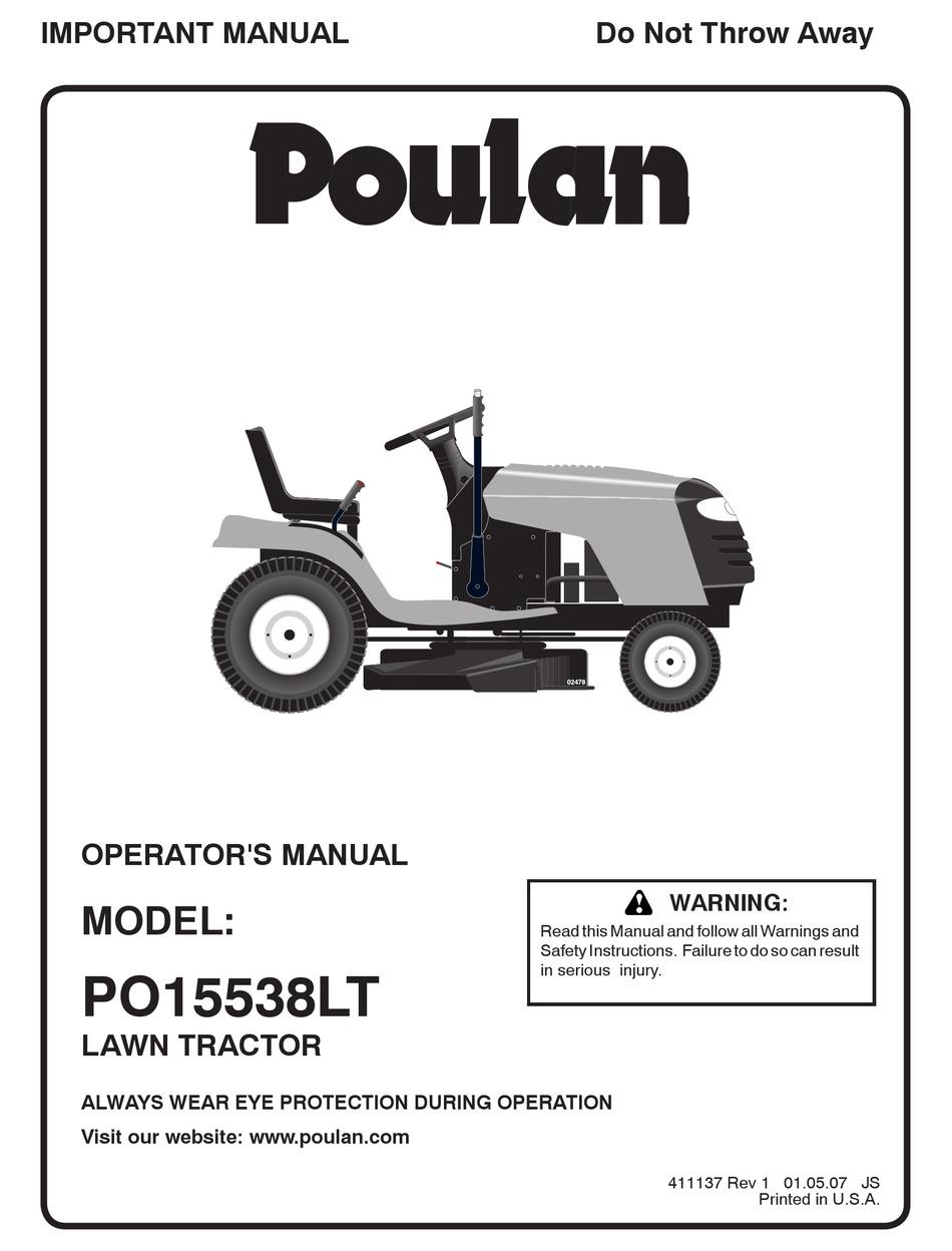 POULAN PRO PO15538LT OPERATOR'S MANUAL Pdf Download