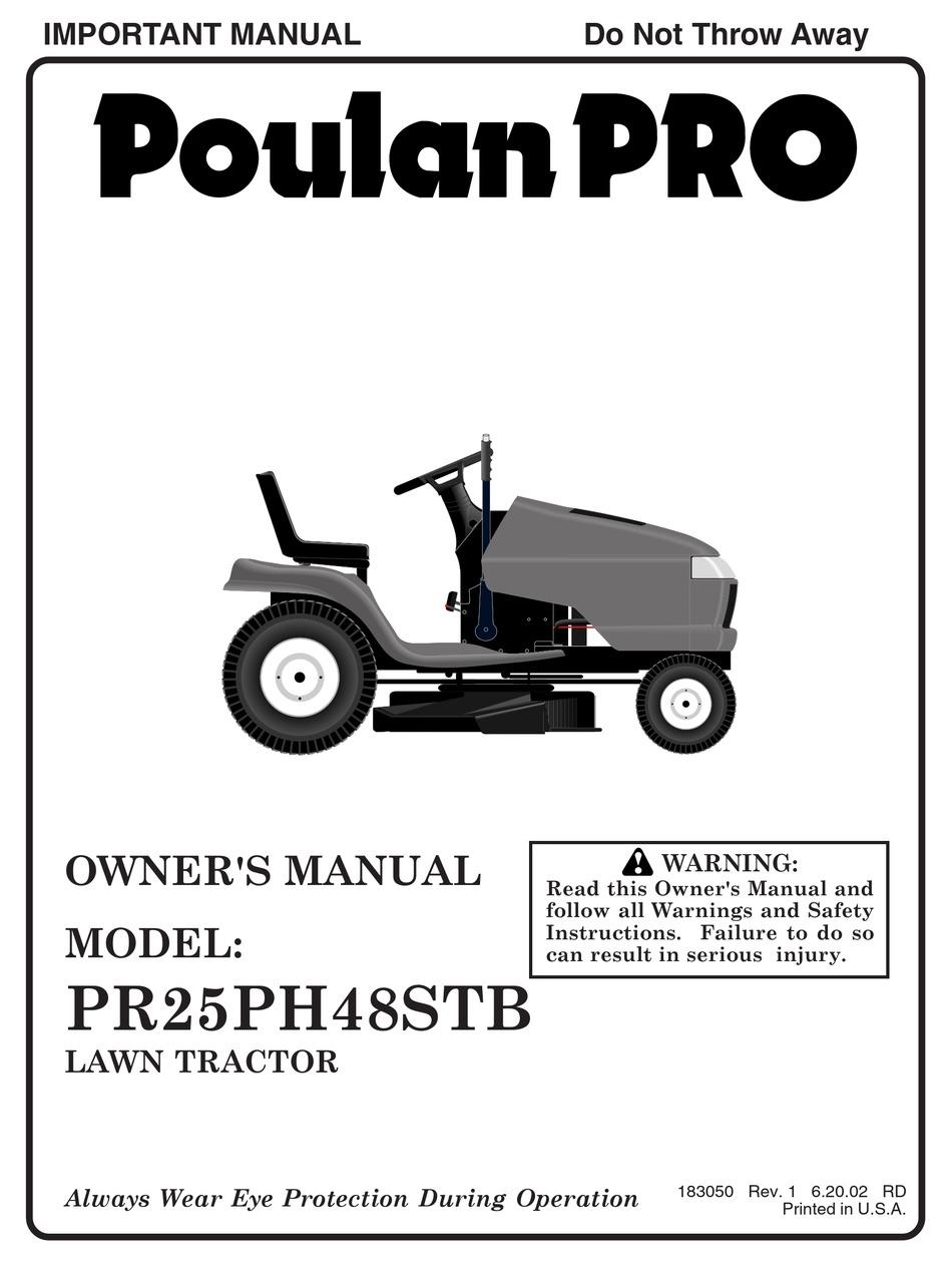 POULAN PRO PR25PH48STB OWNER'S MANUAL Pdf Download