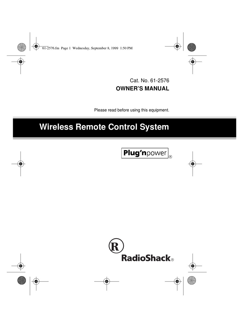 RADIO SHACK WIRELESS REMOTE CONTROL SYSTEM OWNER'S MANUAL