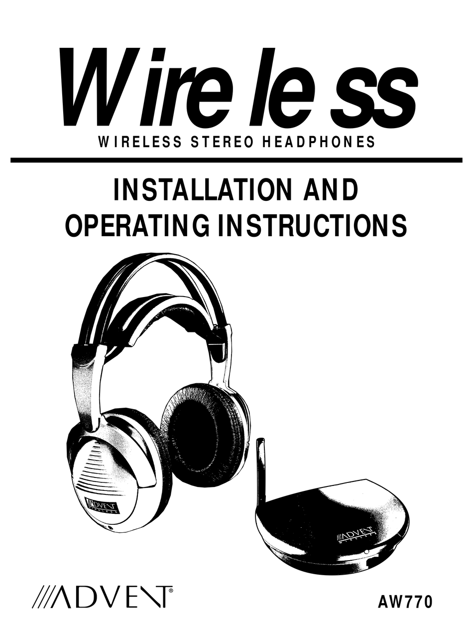 ADVENT AW770 INSTALLATION AND OPERATION MANUAL Pdf