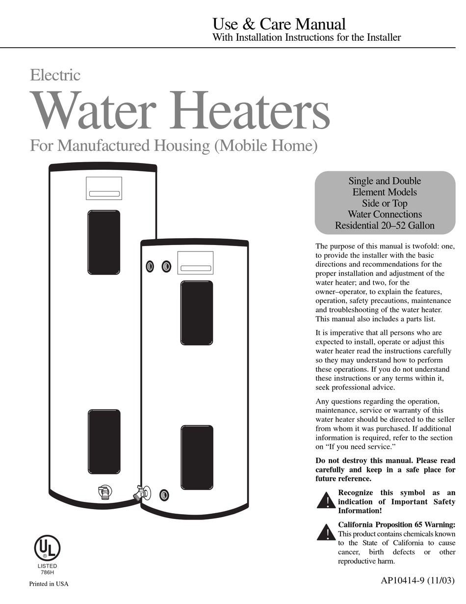 Rheem Water Heater Manual : rheem, water, heater, manual, RHEEM, 72V20-1, MANUAL, Download, ManualsLib