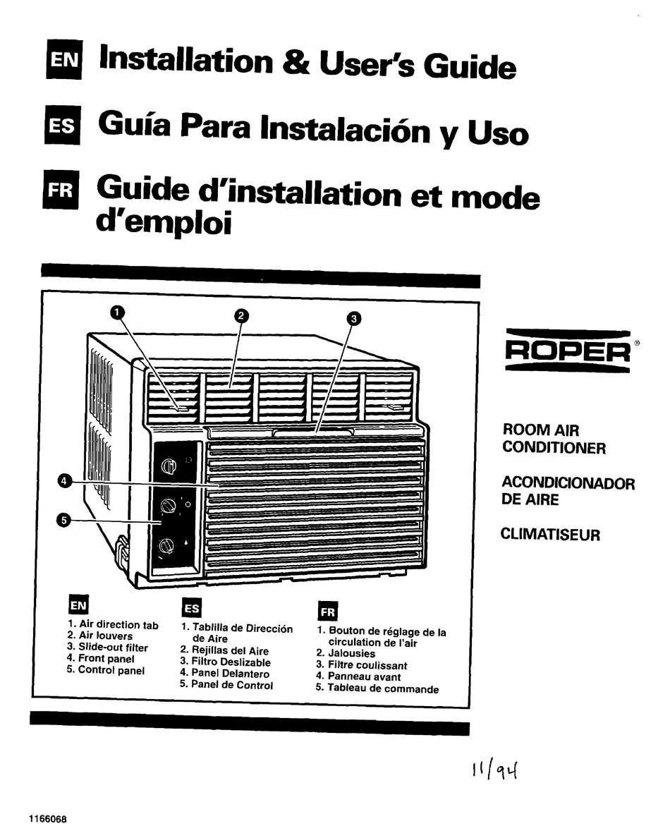 ROPER AIR CONDITIONER INSTALLATION AND USER MANUAL Pdf
