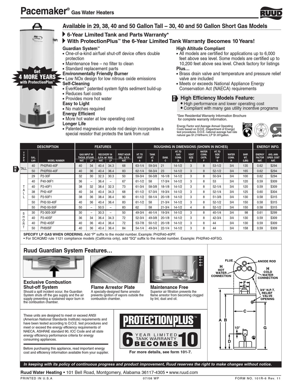 Ruudglas Pacemaker : ruudglas, pacemaker, PH20V50F, SPECIFICATION, SHEET, Download, ManualsLib