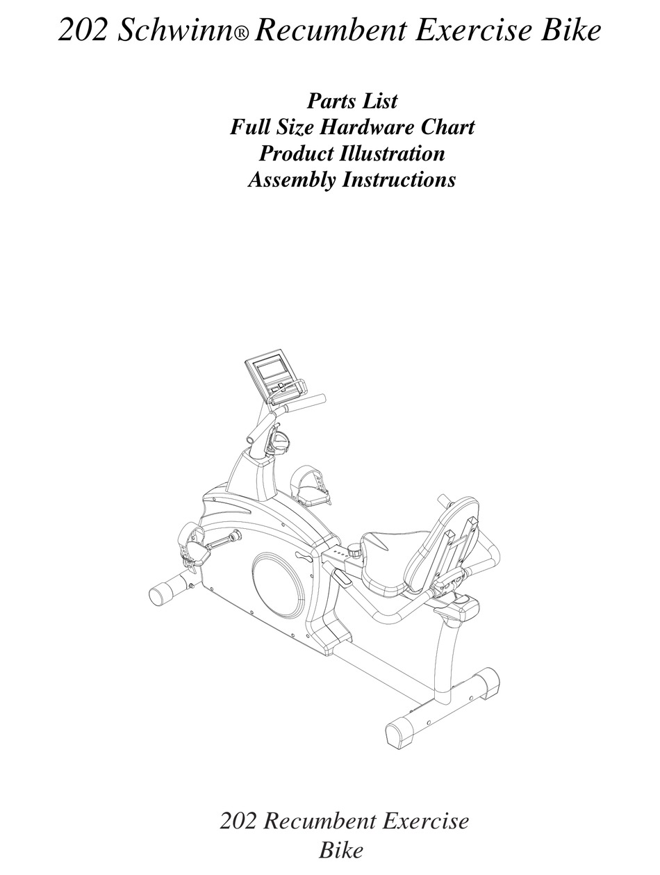 Schwinn 202 Recumbent Bike : schwinn, recumbent, SCHWINN, ASSEMBLY, INSTRUCTIONS, MANUAL, Download, ManualsLib