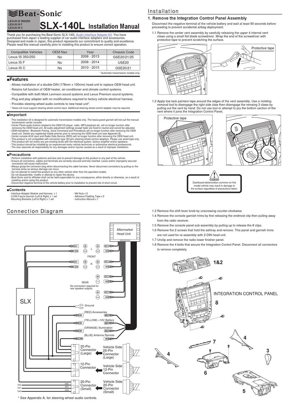BEAT-SONIC SLX-140L INSTALLATION MANUAL Pdf Download