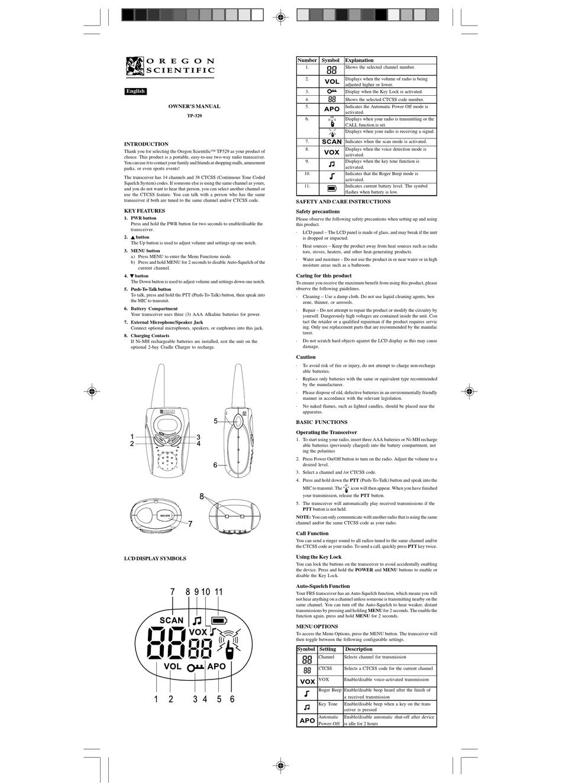 OREGON SCIENTIFIC TP-329 OWNER'S MANUAL Pdf Download