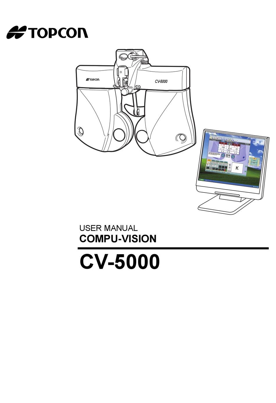 TOPCON COMPU-VISION CV-5000 USER MANUAL Pdf Download