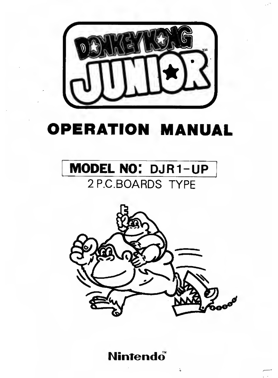 NINTENDO DONKEY KONG JUNIOR DJR1-UP OPERATION MANUAL Pdf