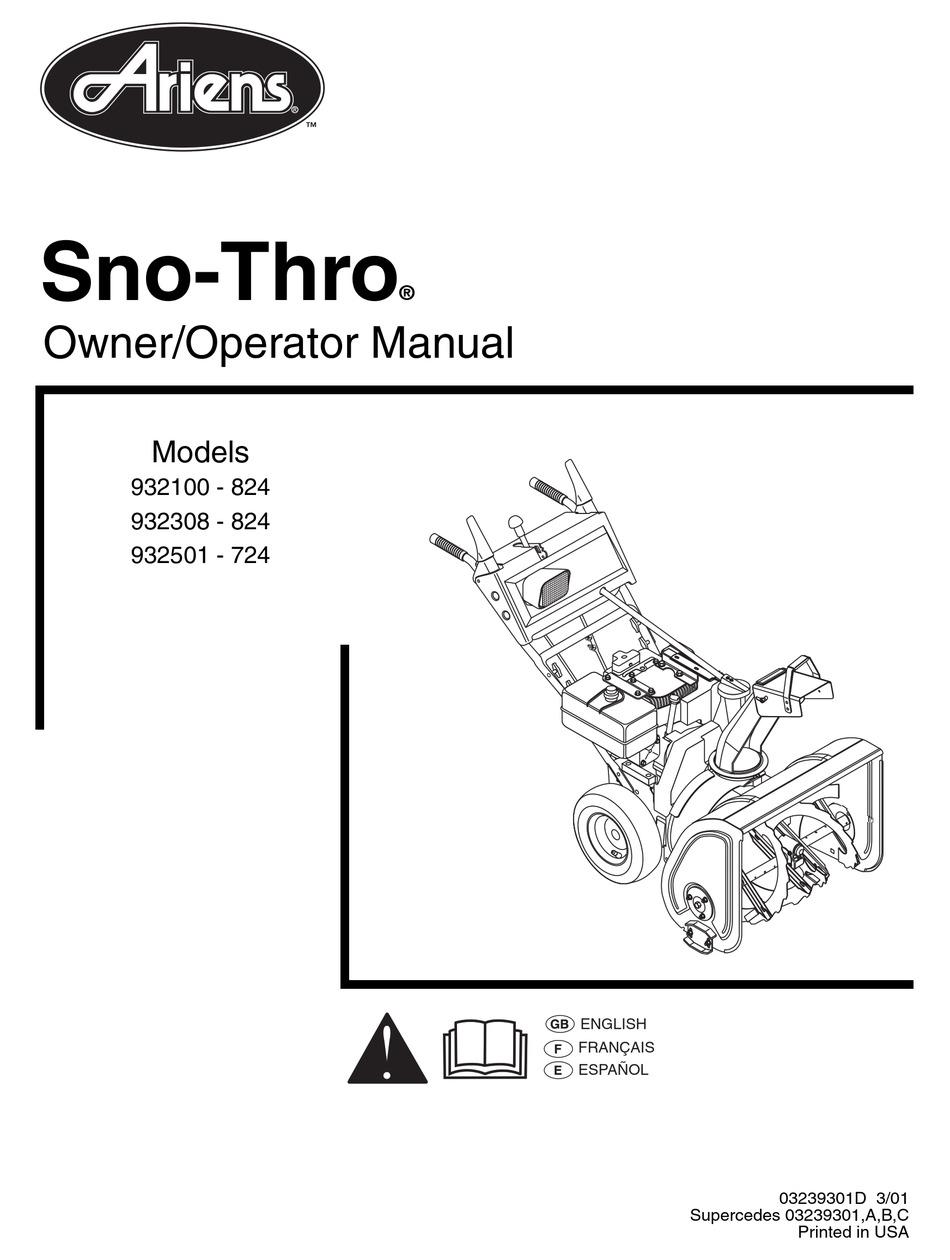 ARIENS SNO-THRO 932100-824 OWNER'S/OPERATOR'S MANUAL Pdf
