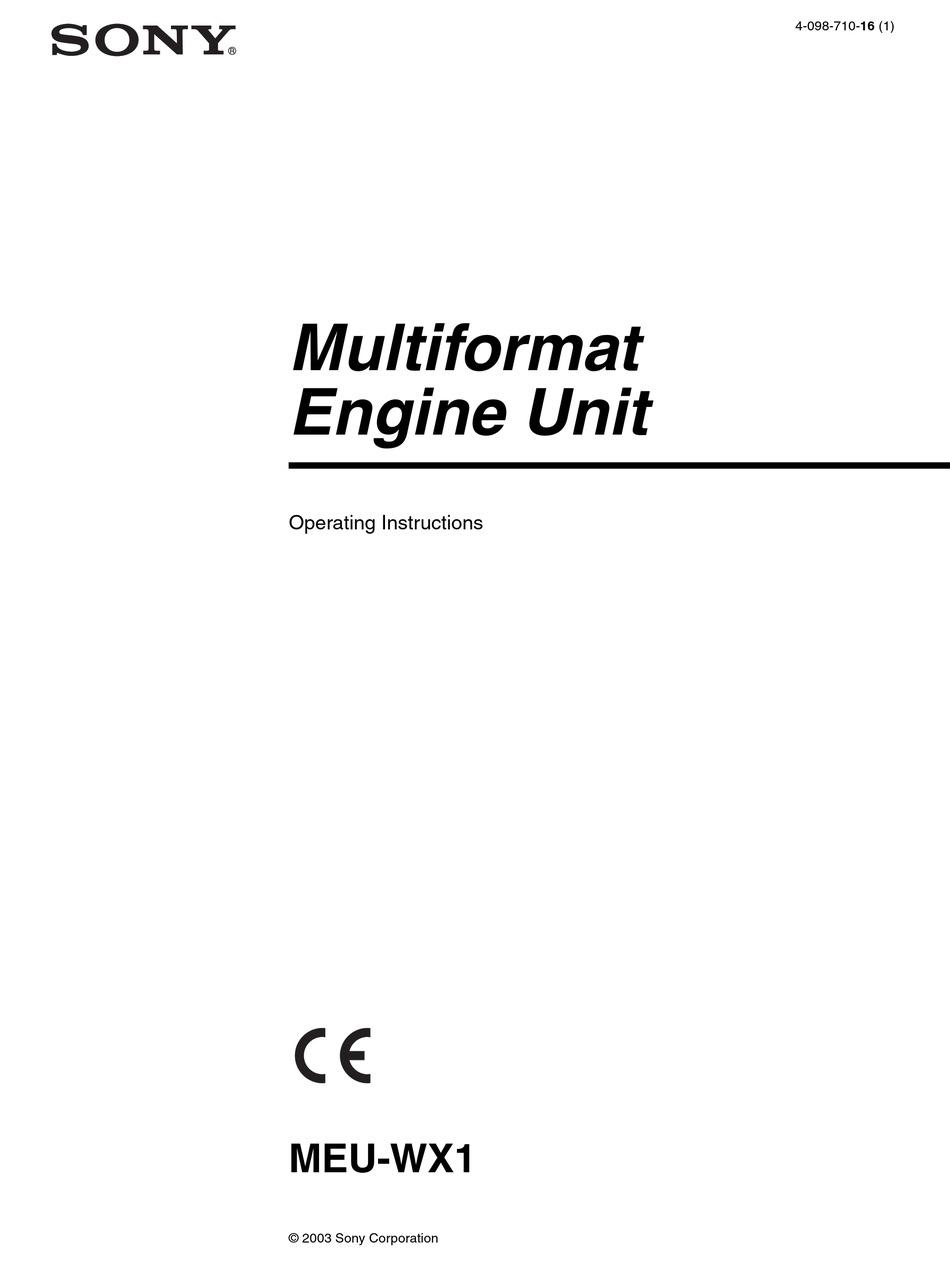 SONY MEU-WX1 OPERATING INSTRUCTIONS MANUAL Pdf Download