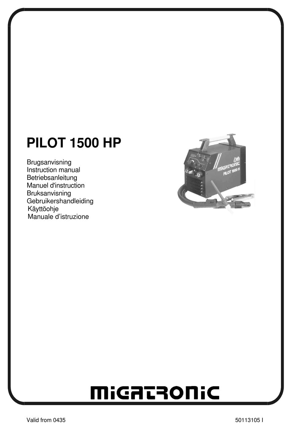 MIGATRONIC PILOT 1500 HP INSTRUCTION MANUAL Pdf Download