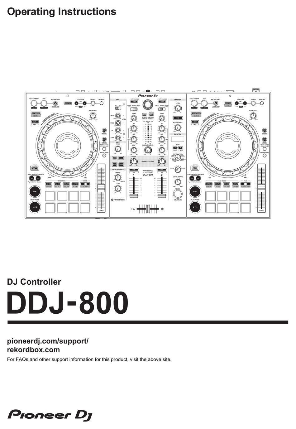 PIONEER DJ DDJ-800 OPERATING INSTRUCTIONS MANUAL Pdf