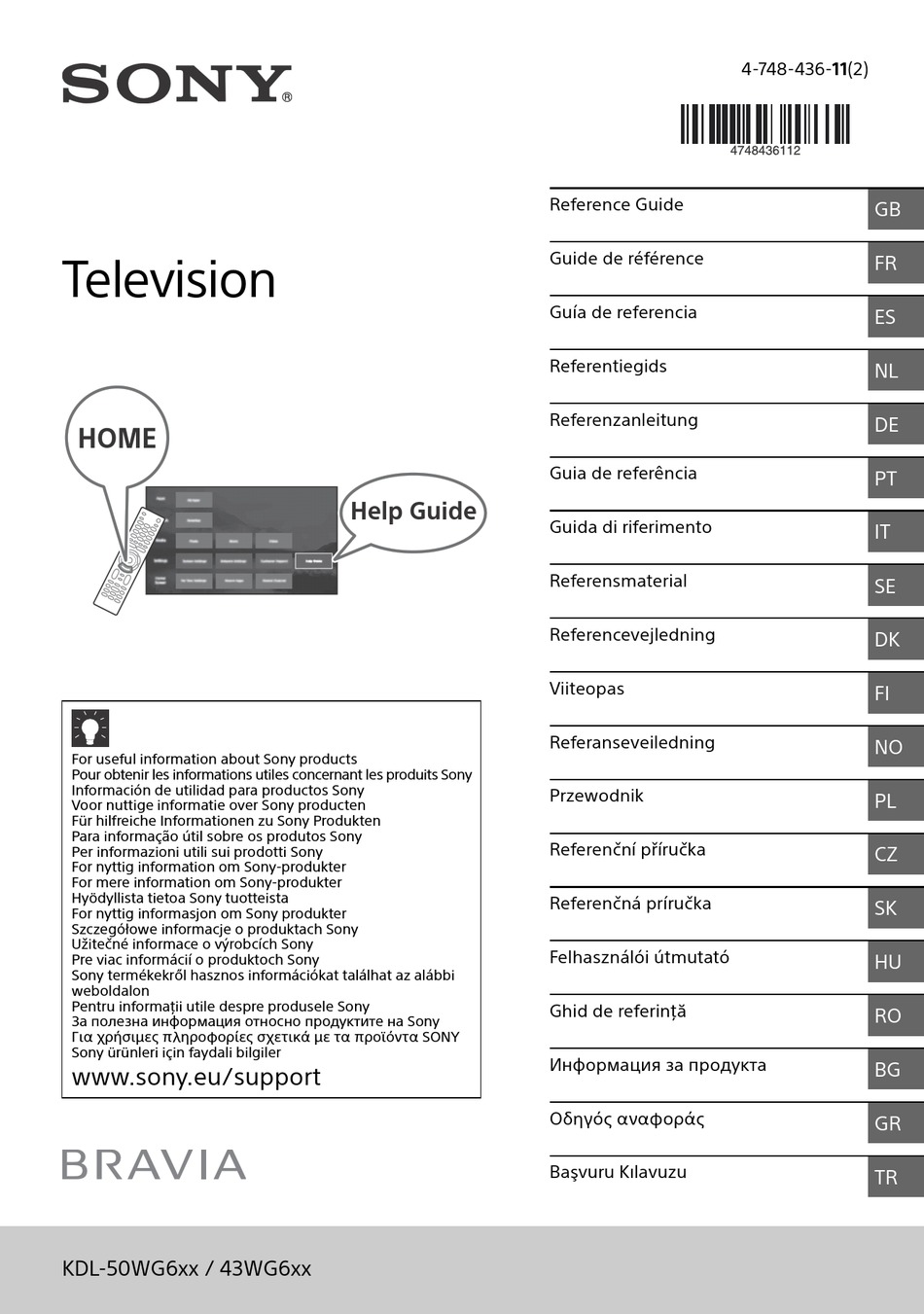 SONY BRAVIA KDL-50WG6 SERIES REFERENCE MANUAL Pdf Download