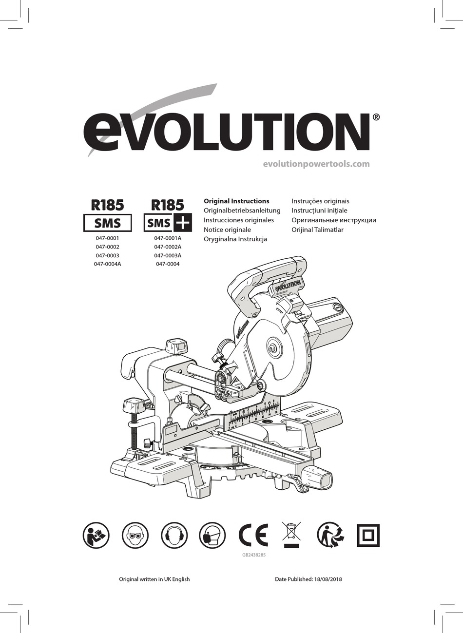 EVOLUTION R185 SMS ORIGINAL INSTRUCTIONS MANUAL Pdf