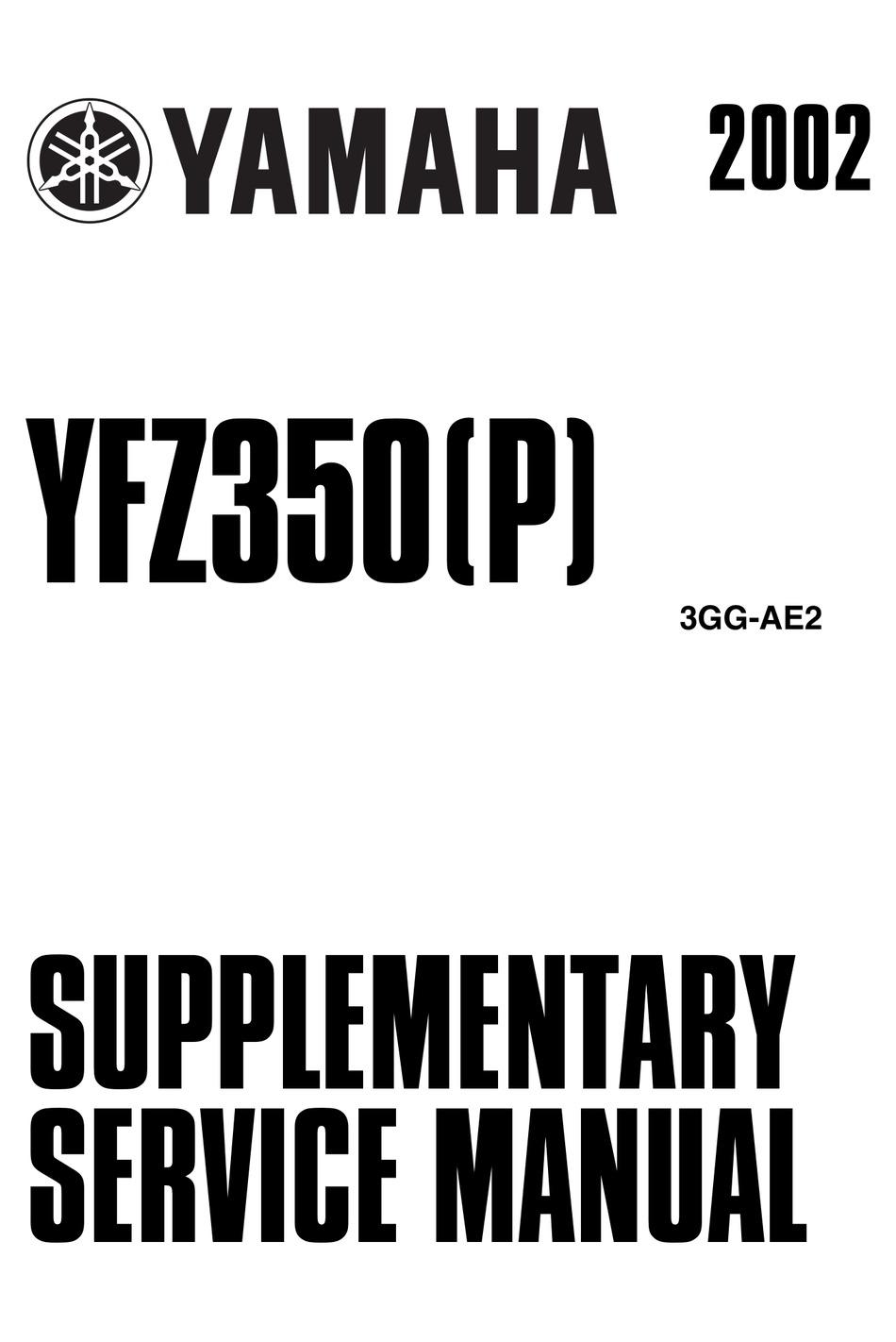 YAMAHA YFZ350(P) 2002 SUPPLEMENTARY SERVICE MANUAL Pdf