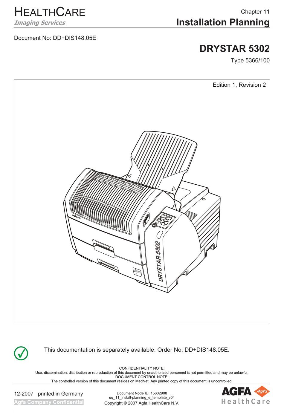AGFA DRYSTAR 5302 INSTALLATION PLANNING Pdf Download