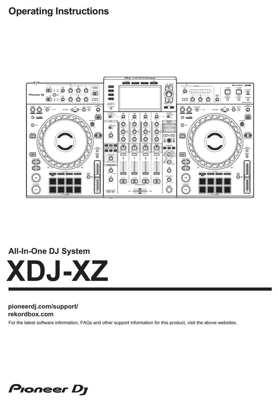 PIONEER DJ XDJ-XZ OPERATING INSTRUCTIONS MANUAL Pdf