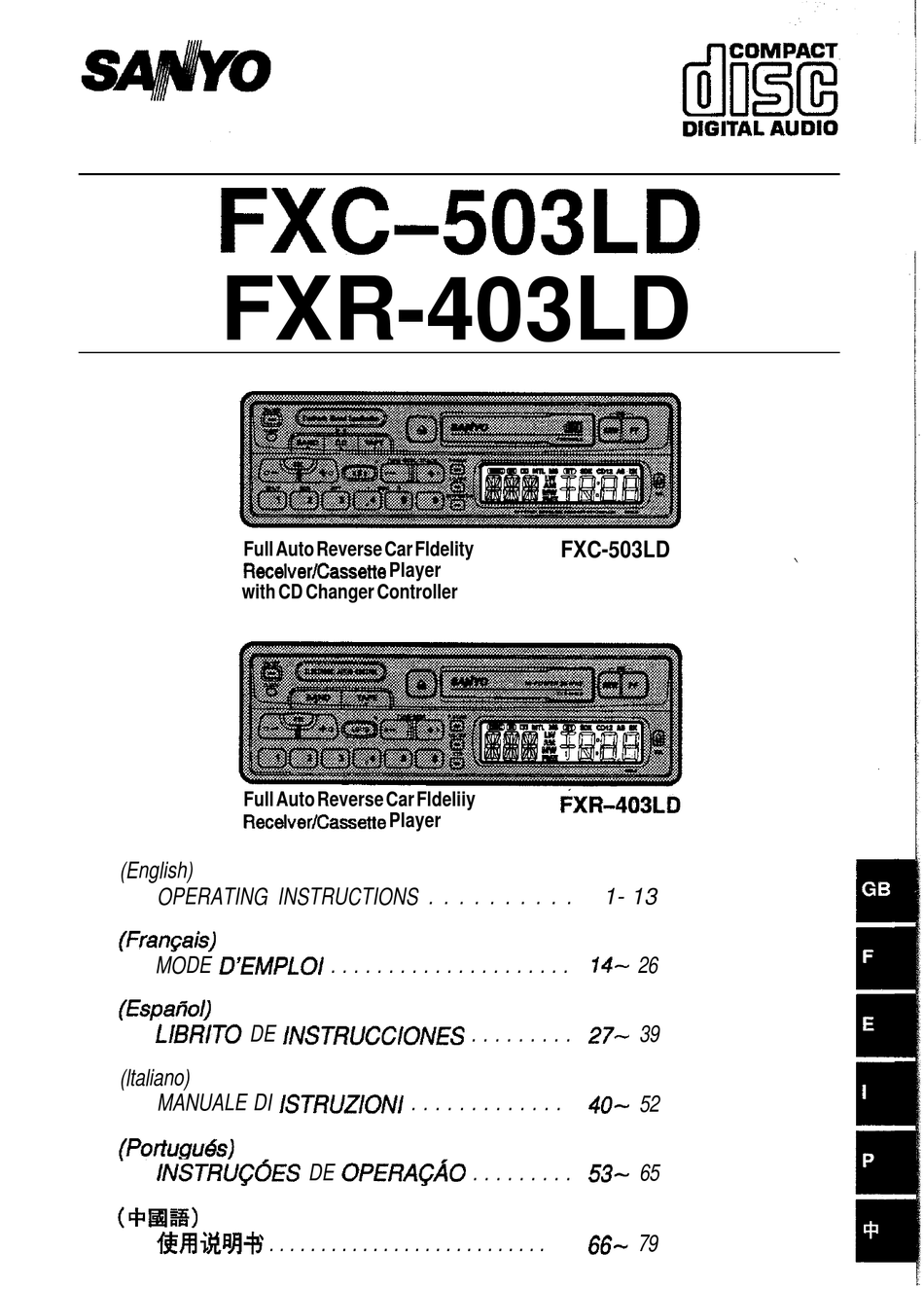 SANYO FXC-503LD OPERATING INSTRUCTIONS MANUAL Pdf Download