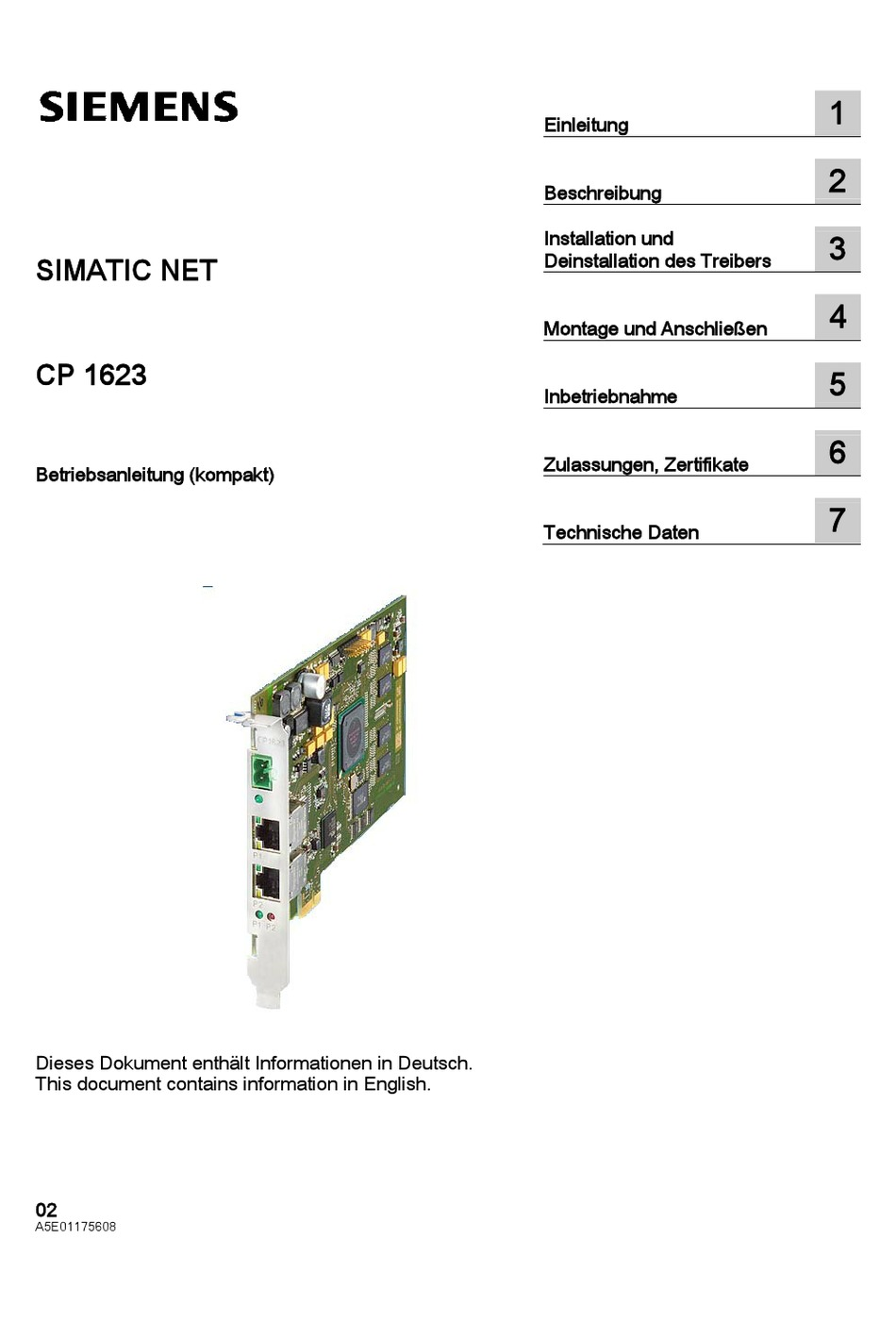 SIEMENS SIMATIC NET CP 1623 OPERATING INSTRUCTIONS MANUAL