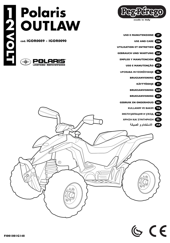 PEG-PEREGO POLARIS OUTLAW USE AND CARE MANUAL Pdf Download