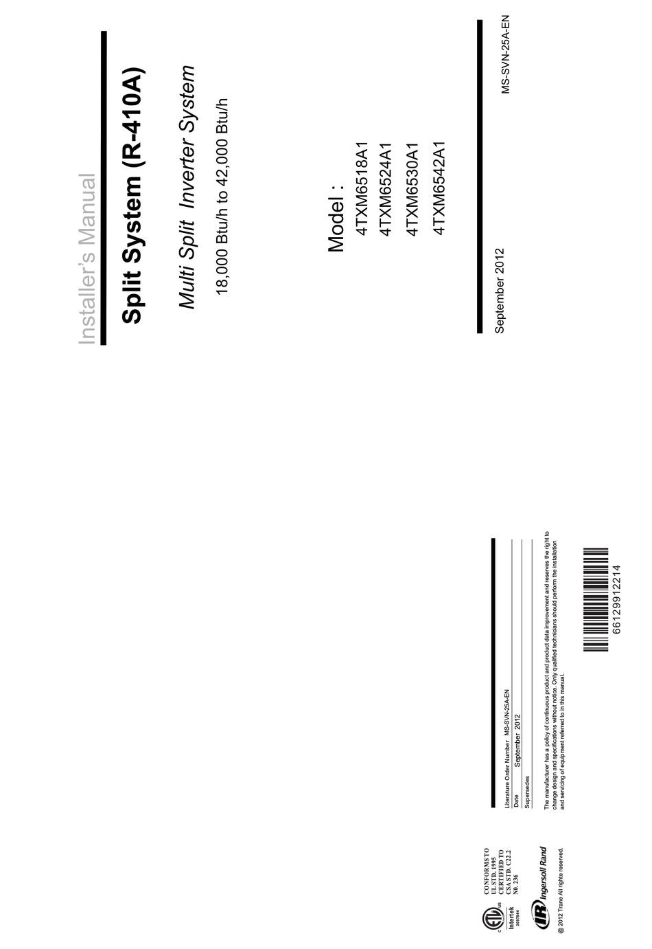 INGERSOLL-RAND 4TXM6518A1 INSTALLER MANUAL Pdf Download