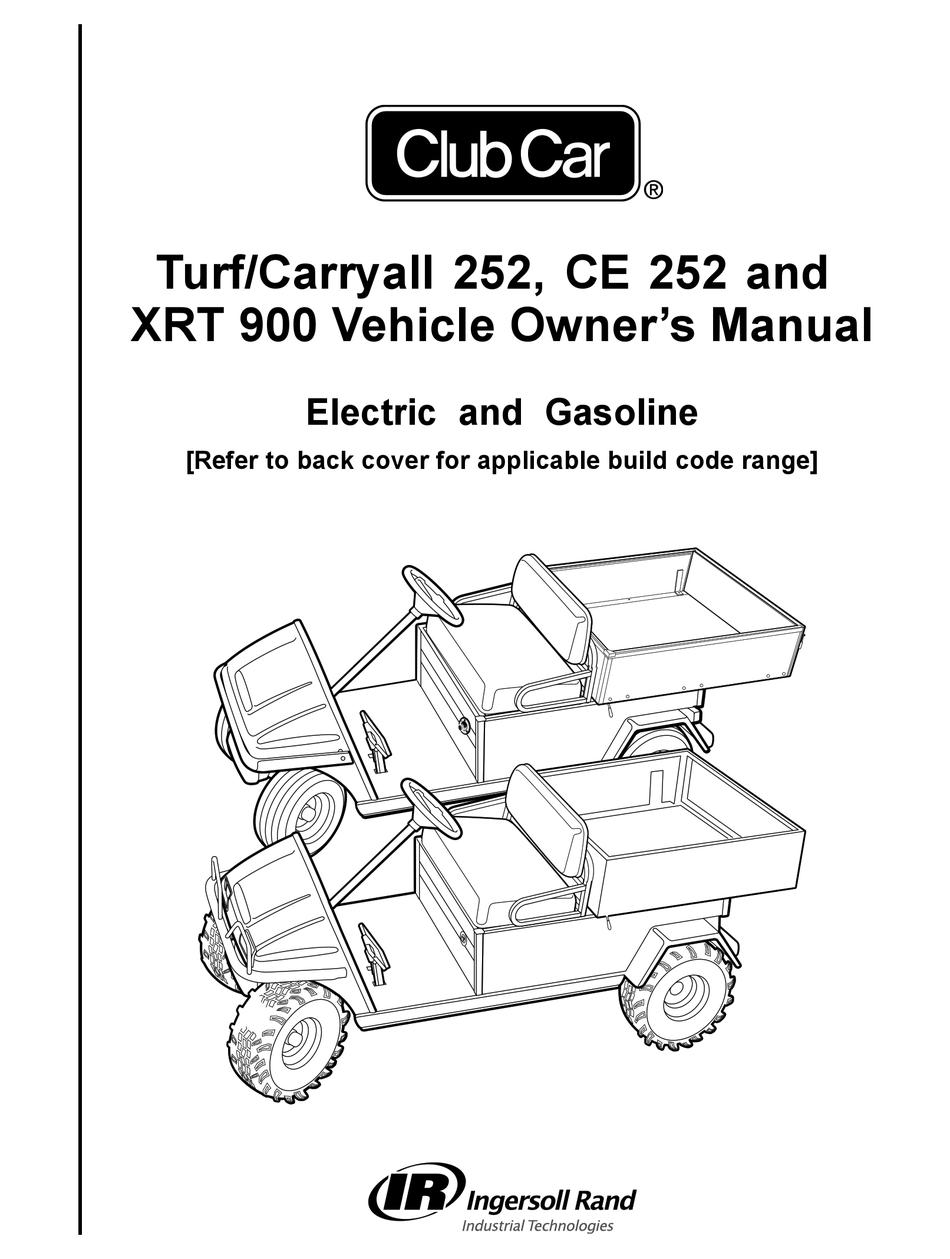 INGERSOLL-RAND CLUB CAR TURF 252 OWNER'S MANUAL Pdf