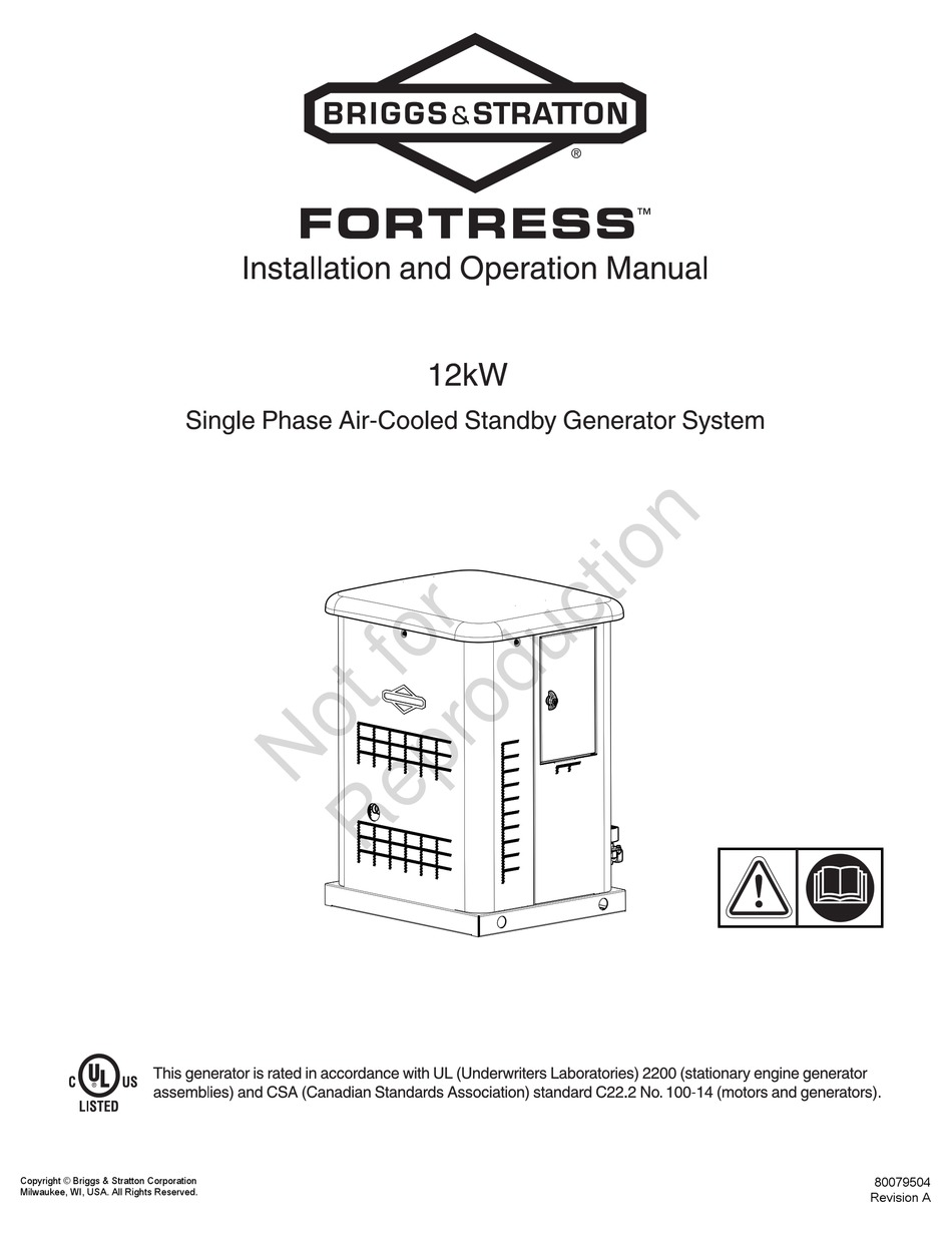 BRIGGS & STRATTON FORTRESS SERIES INSTALLATION AND