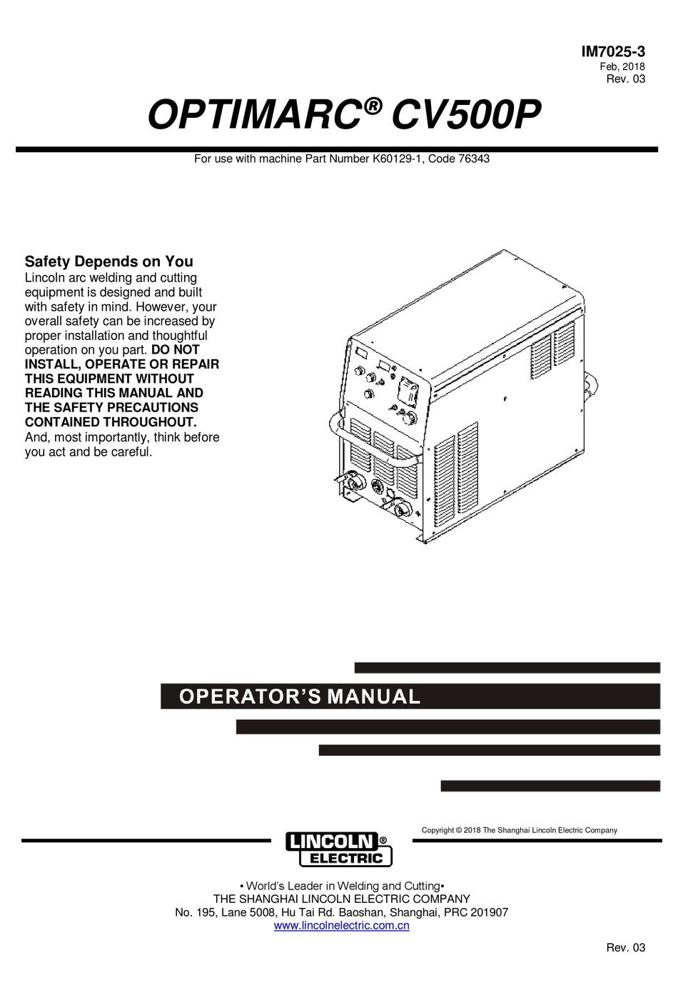 LINCOLN ELECTRIC OPTIMARC CV500P OPERATOR'S MANUAL Pdf