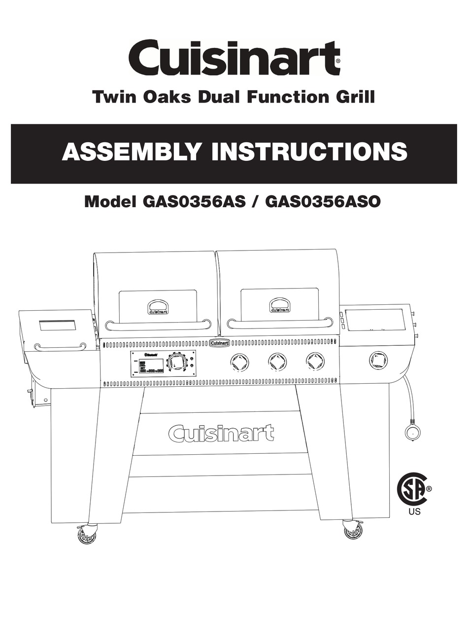 CUISINART GAS0356AS ASSEMBLY INSTRUCTIONS MANUAL Pdf