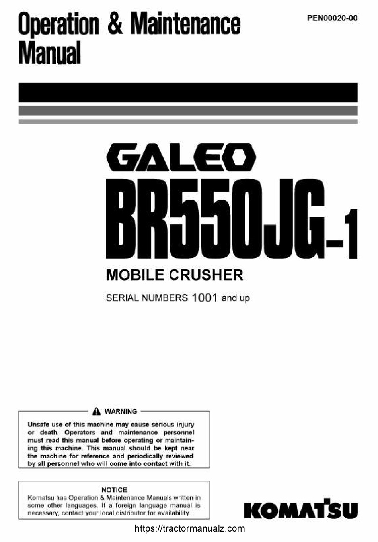 KOMATSU GALEO BR550JG-1 OPERATION & MAINTENANCE MANUAL Pdf