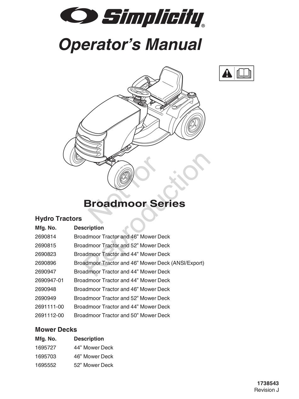 SIMPLICITY BROADMOOR SERIES OPERATOR'S MANUAL Pdf Download