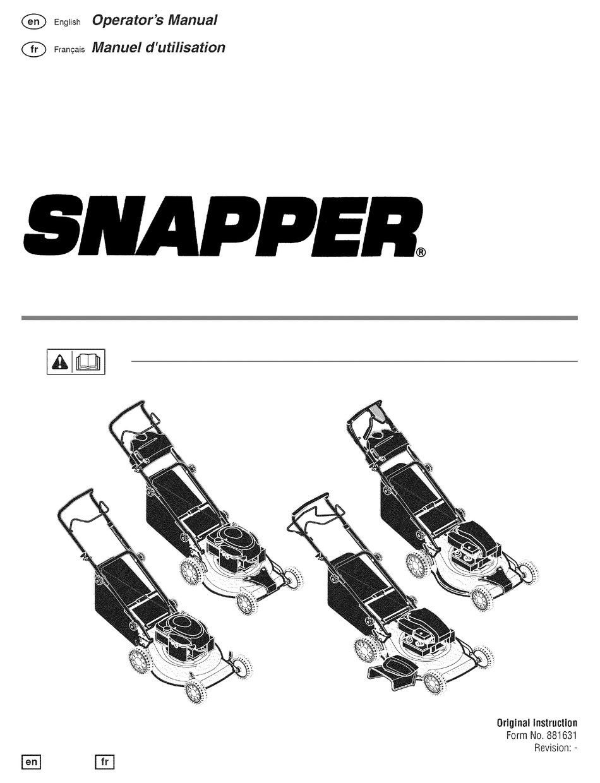 BRIGGS & STRATTON SNAPPER OPERATOR'S MANUAL Pdf Download
