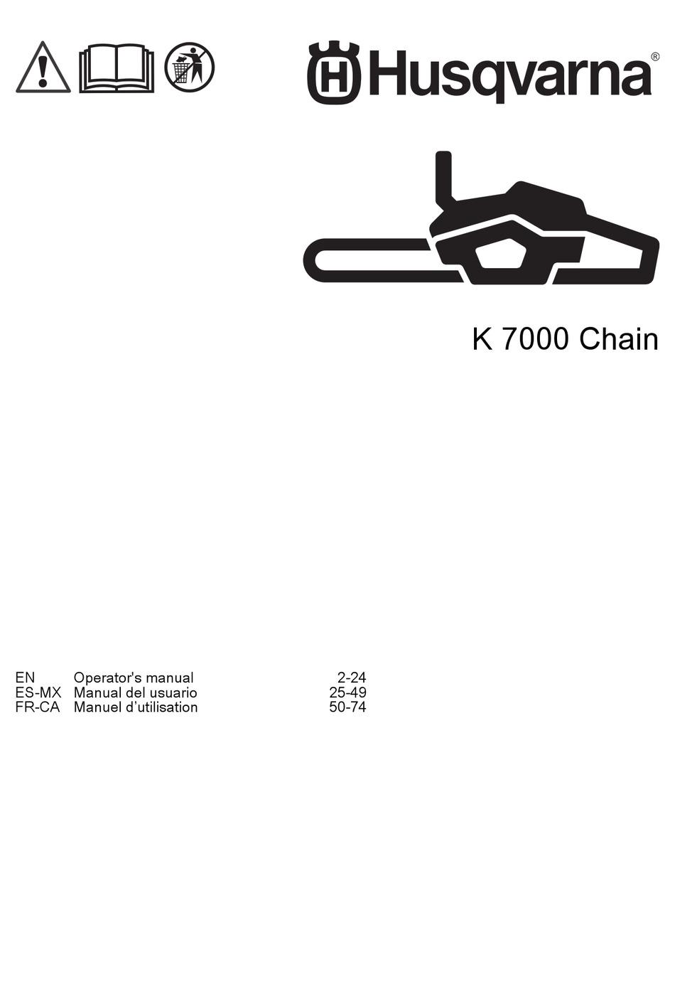 HUSQVARNA K 7000 CHAIN OPERATOR'S MANUAL Pdf Download