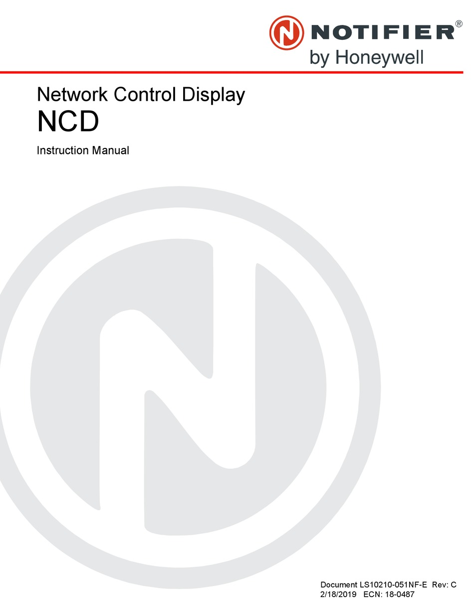 HONEYWELL NOTIFIER NCD INSTRUCTION MANUAL Pdf Download