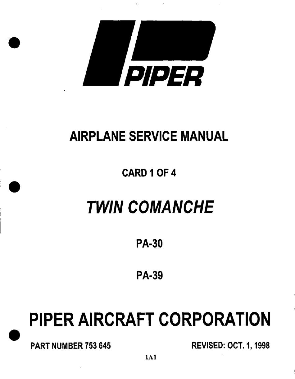 PIPER TWIN COMANCHE PA-30 SERVICE MANUAL Pdf Download
