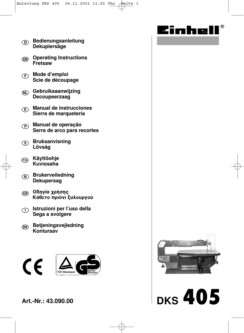 EINHELL DKS 405 OPERATING INSTRUCTIONS MANUAL Pdf Download